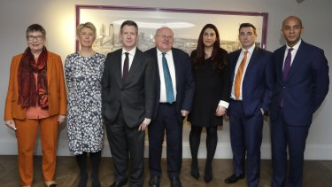 From left, Labour MPs Ann Coffey, Angela Smith, Chris Leslie, Mike Gapes, Luciana Berger, Gavin Shuker and Chuka Umunna have formed The Independent Group, which was joined this week by three Conservative MPs.