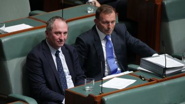 Barnaby Joyce and Tony Abbott in Parliament in August 2017.