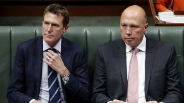 Attorney-General Christian Porter and Minister for Home Affairs Peter Dutton.