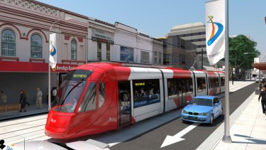 An artist's impression of the first stage of the Parramatta Light Rail line.