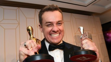 Grant Denyer with his Gold and Silver Logies last year.