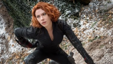 Scarlett Johansson as the Black Widow in the Avengers: Age of Ultron.