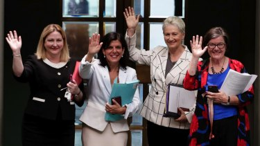 Crossbench MPs Rebekha Sharkie, Julia Banks, Kerryn Phelps and Cathy McGowan in the lower house earlier this month.