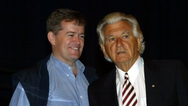 Former prime minister Bob Hawke and Bill Shorten at a trades hall rally in 2005.