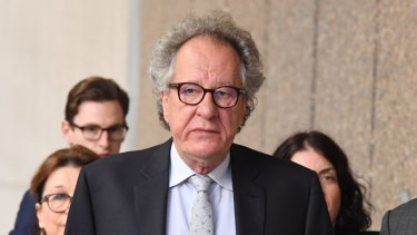 Geoffrey Rush outside the Federal Court last year.
