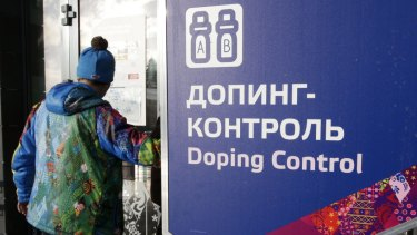Doping control at the 2014 Winter Olympics in Krasnaya Polyana, Russia.