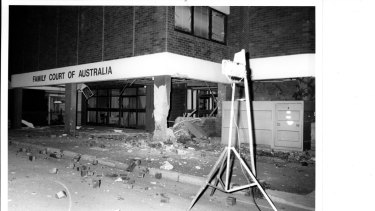 The aftermath of the Family Court bombing in Parramatta in April 1984.
