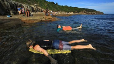 Swimmers near Long Bay on Sydney's coastline, an area that will be one of the protected spots within the proposed marine park.
