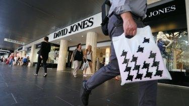 Profit at David Jones has plunged 42 per cent.