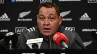 Big call: Steve Hansen is talking down his world champion side's chances in the first Bledisloe clash.