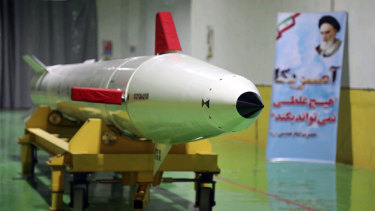 A Dezful surface-to-surface ballistic missile is displayed in an undisclosed location in Iran.