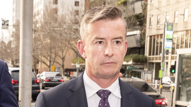 ANZ's head of superannuation,  Mark Pankhurst, leaving the royal commission on Wednesday.
