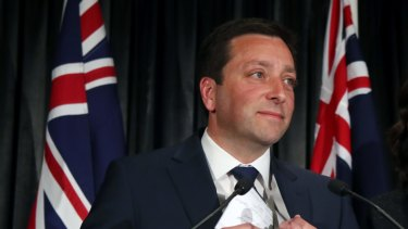 Liberal leader Matthew Guy  announces defeat in the state election.