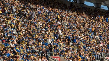Sea of blue and gold: Parramatta fans turned out in huge numbers at Bankwest Stadium.