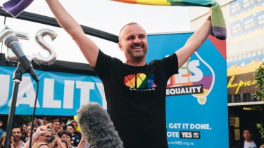Chief Minister Andrew Barr at last year's street party in Braddon celebrating the same-sex marriage postal survey result.