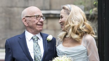 Rupert Murdoch and Jerry Hall leaving St Brides Church after their wedding on March 5, 2016 in London.