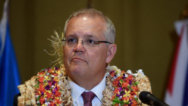 Australian Prime Minister Scott Morrison delivering a keynote address at the University of the South Pacific in Suva, Fiji in January.