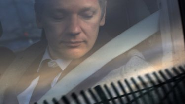 WikiLeaks founder Julian Assange arrives at Belmarsh Magistrate's court in London for an extradition hearing in 2010.