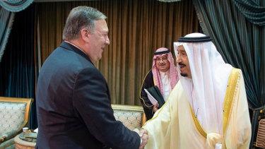 US Secretary of State Mike Pompeo, left, meets  Saudi King Salman in Riyadh, Saudi Arabia, on Sunday.