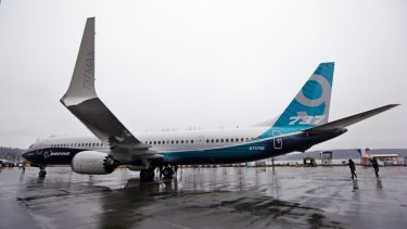 """A Boeing 737 MAX 9, with the """"AT winglets"""" being made at the company's factory in Melbourne."""