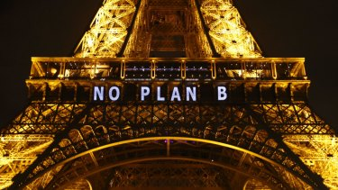 "The slogan ""NO PLAN B"" is projected on the Eiffel Tower as part of the COP21, United Nations Climate Change Conference in Paris in December 2015."