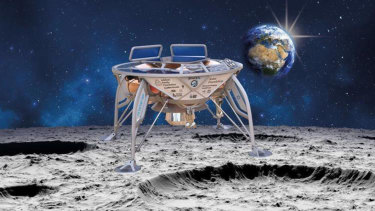 An artist's impression of SpaceIL's lunar lander, Beresheet, landing on the moon