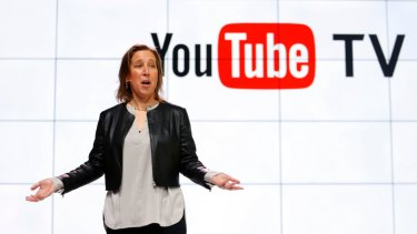 YouTube CEO Susan Wojicki speaks during the introduction of YouTube TV in Los Angeles in 2017.