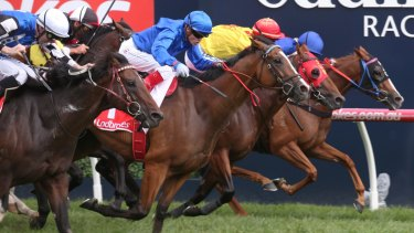 Hartnell dives through the centre to win the C.F Orr Stakes first up at Caulfield last year.