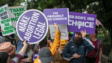 Pro-choice protesters in Brisbane last year.