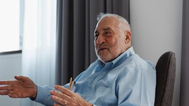 American Nobel economist Joseph Stiglitz, in Sydney to accept the 2018 Sydney Peace Prize on November 13.