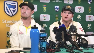 Mea culpa, of sorts: Cameron Bancroft and captain Steve Smith admit to ball-tampering.