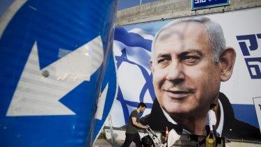 A billboard showing Israel's Prime Minister Benjamin Netanyahu in Tel Aviv.