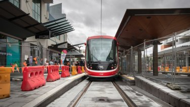 A light rail vehicle at the Gungahlin terminus. Photo: Sitthixay Ditthavong