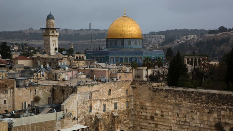 The Western Wall and the Dome of the Rock, some of the holiest sites for for Jews and Muslims, in Jerusalem.