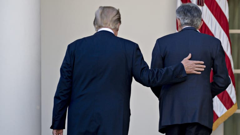 US President Donald Trump, left, is ''not even a little bit happy'' with his choice of Jerome Powell, as US Federal Reserve chairman.