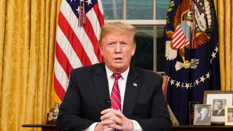 President Donald Trump speaks from the Oval Office of the White House as he gives a prime-time address about border security.