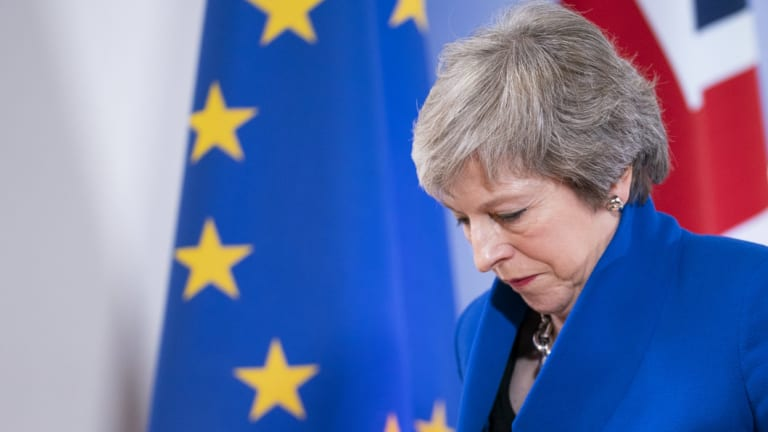 British Prime Minister Theresa May leaves Brussels after a special meeting of the European Council on the Brexit withdrawal agreement on Sunday.