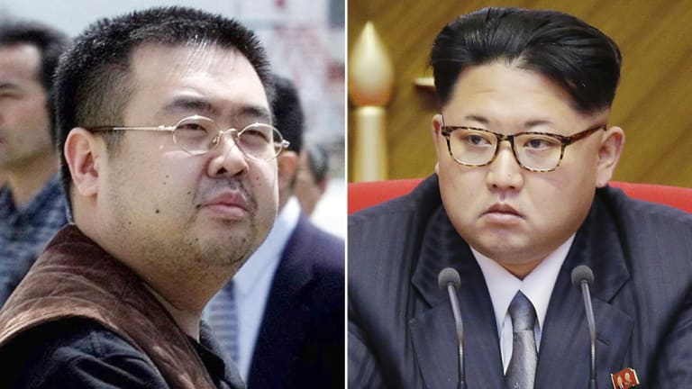 Kim Jong-nam, left, the late exiled half-brother of North Korea's leader Kim Jong-Un, right.