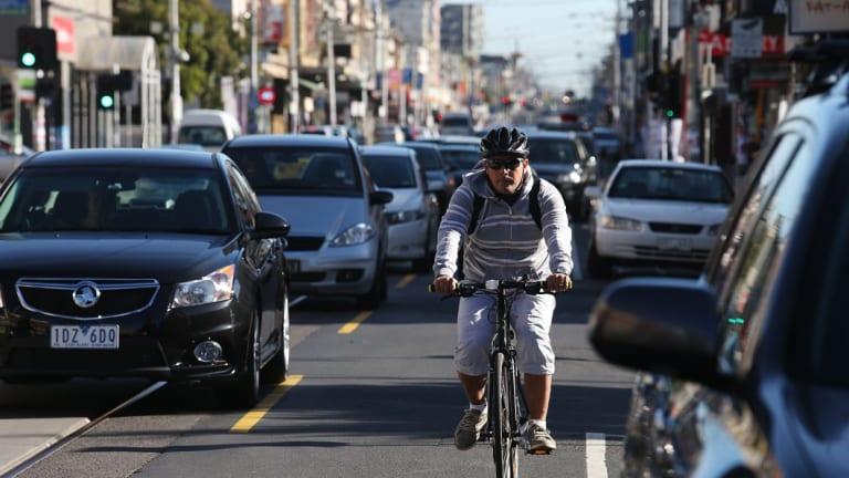 Cycling on Sydney Road.