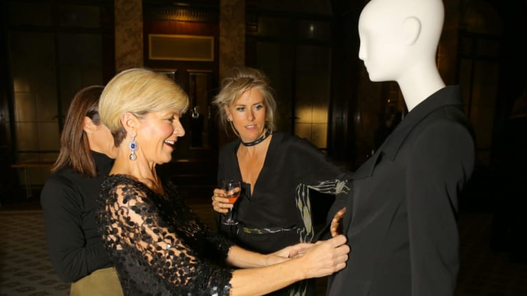 Kit Willow (centre) with then foreign minister Julie Bishop at the Commonwealth Fashion Exchange in London last year.
