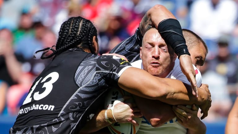 No more: New Zealand's Martin Taupau tackles England's James Roby during the one, and it now seems, only Denver Test.