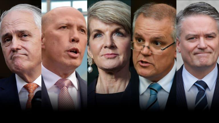 Malcolm Turnbull, Peter Dutton, Julie Bishop, Scott Morrison and Mathias Cormann.