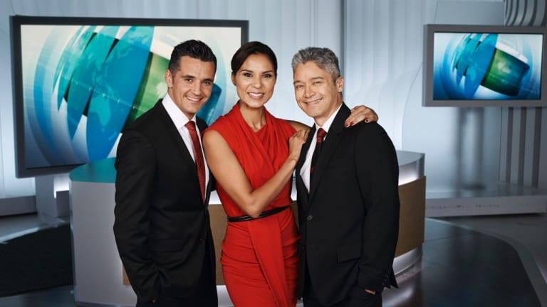 SBS World News presenters Ricardo Goncalves, Janice Petersen and Anton Enus.