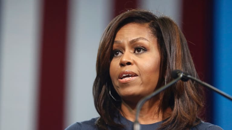 Former first lady Michelle Obama, pictured speaking during a campaign rally for Hilary Clinton in October 2016.