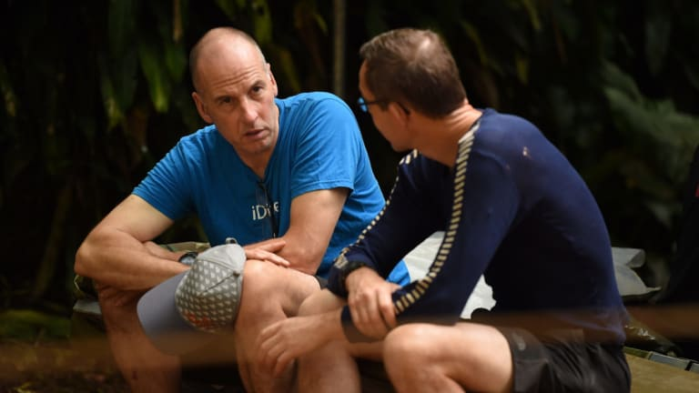 British divers Richard Stanton, left, and John Volanthen at the base camp for the rescue operation last week.