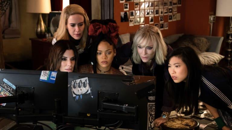 From foreground left, Sandra Bullock Sarah Paulson, Rihanna, Cate Blanchett and Awkwafina in a scene from <i>Ocean's 8</i>.