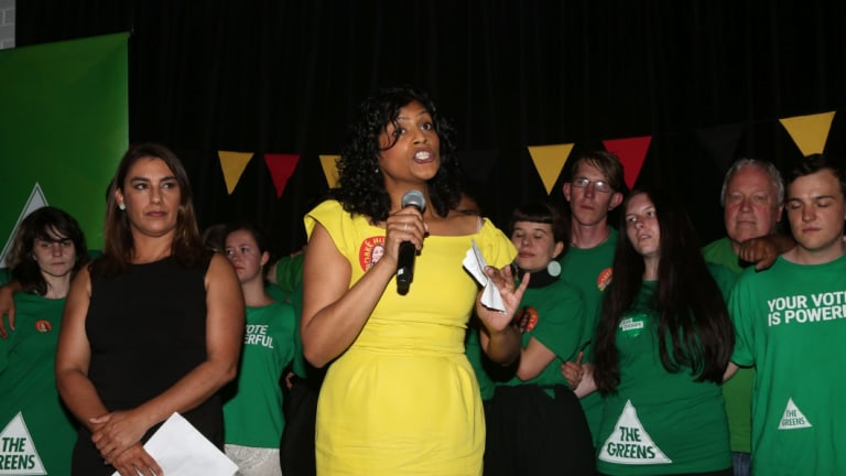 Victorian Greens leader Samantha Ratnam speaks after the party's Northcote byelection win.