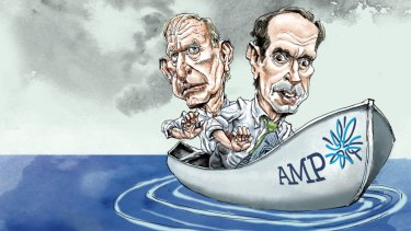 Cut adrift: AMP chairman David Murray and CEO Francesco De Ferrari. Illustration: Joe Benke