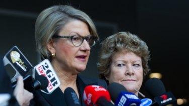 Former NSW Health Minister, Jillian Skinner, right, and secretary of health, Elizabeth Koff in July 2016.