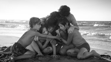 A scene from Alfonso Cuarón's film Roma, for which he won best director.